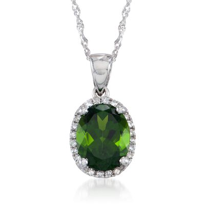 1.80 Carat Green Chrome Diopside Pendant Necklace with Diamonds in 14kt White Gold, , default