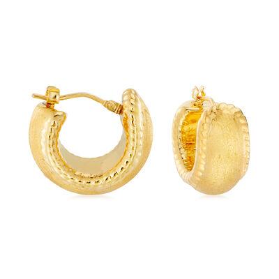 Italian Andiamo 14kt Yellow Gold Milgrain Hoop Earrings, , default
