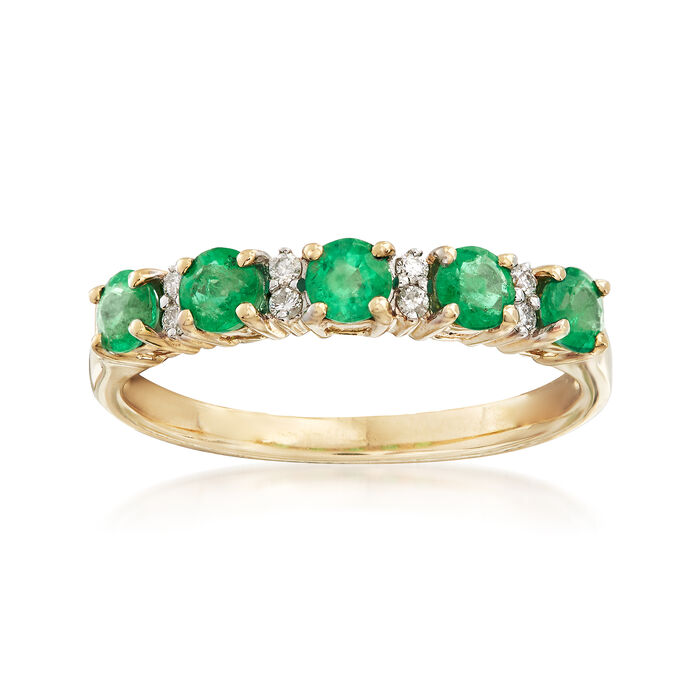 .55 ct. t.w. Emerald Ring with Diamond Accents in 14kt Yellow Gold