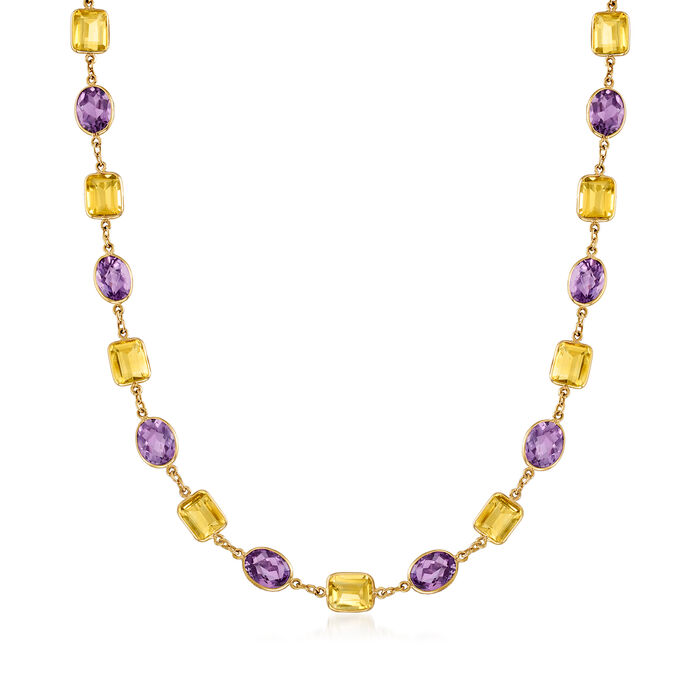 C. 1990 Vintage 90.00 ct. t.w. Amethyst and 81.25 ct. t.w. Citrine Long Necklace in 18kt Yellow Gold