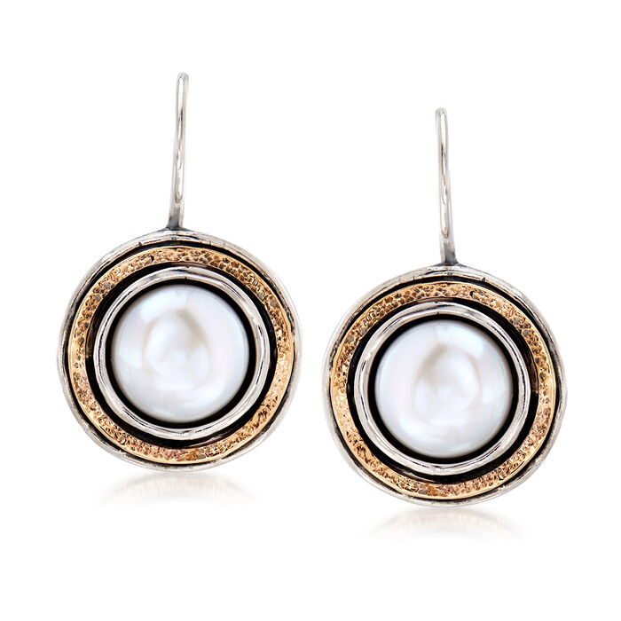 9.5-10mm Cultured Pearl Drop Earrings in Sterling Silver and 14kt Yellow Gold, , default