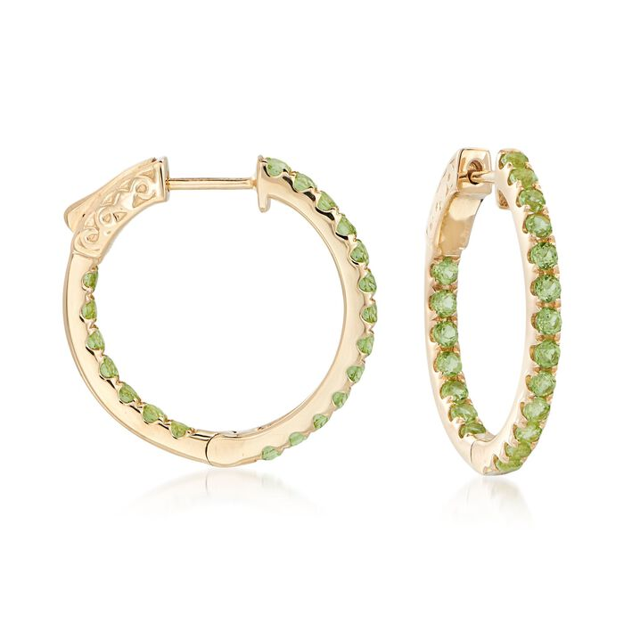 "1.60 ct. t.w. Peridot Inside-Outside Hoop Earrings in 14kt Yellow Gold. 7/8"", , default"