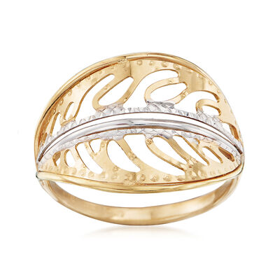 Italian 18kt Two-Tone Gold Leaf Ring, , default