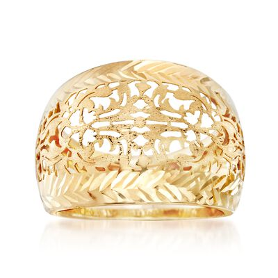 Italian 14kt Yellow Gold Filigree Dome Ring, , default