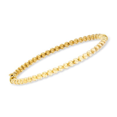 Italian 3.8mm 14kt Yellow Gold Beaded Bangle Bracelet, , default
