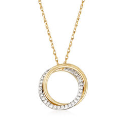 ".20 ct. t.w. Diamond Double Eternity Circle Pendant Necklace in 14kt Yellow Gold. 18"", , default"