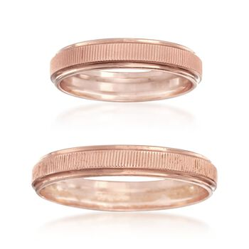 C. 2000 Vintage 14kt Rose Gold His-And-Hers Bridal Set: Two Wedding Rings, , default