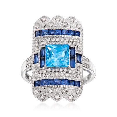 1.60 Carat Swiss Blue Topaz and 1.20 ct. t.w. Sapphire Shield Ring with .39 ct. t.w. Diamonds in 14kt White Gold