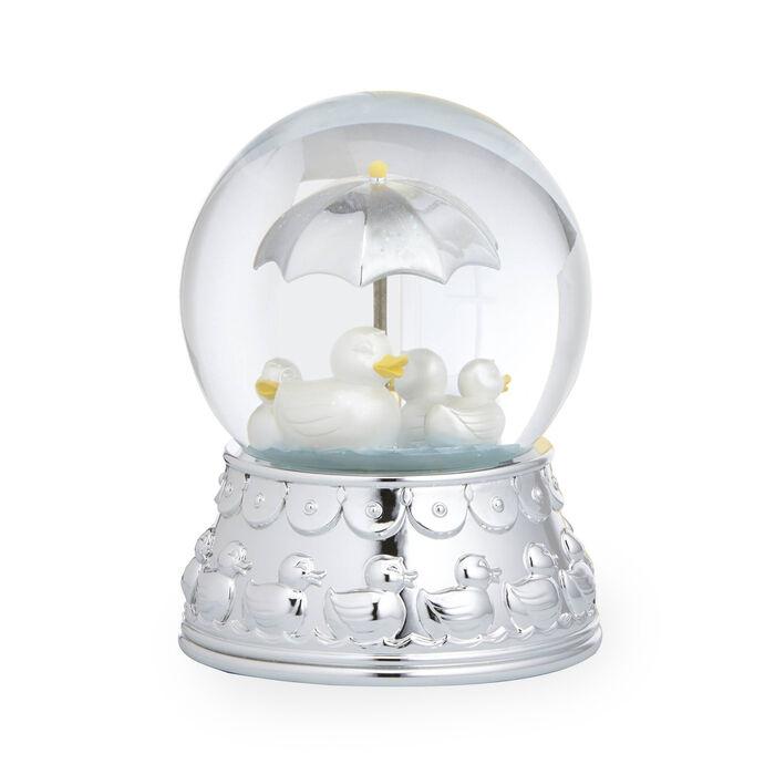 "Reed and Barton ""Something Duckie"" Silver Plate Rain Globe"