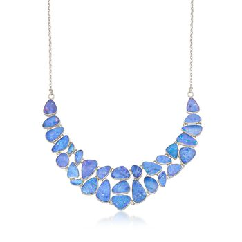 "Blue Opal Doublet Mosaic Bib Necklace in Sterling Silver. 18"", , default"
