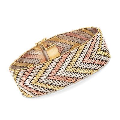 C. 1970 Vintage 14kt Tri-Colored Gold Chevron Bracelet, , default
