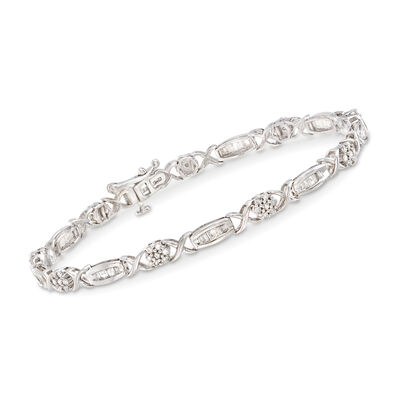 1.00 ct. t.w. Round and Baguette Diamond Bracelet in Sterling Silver, , default