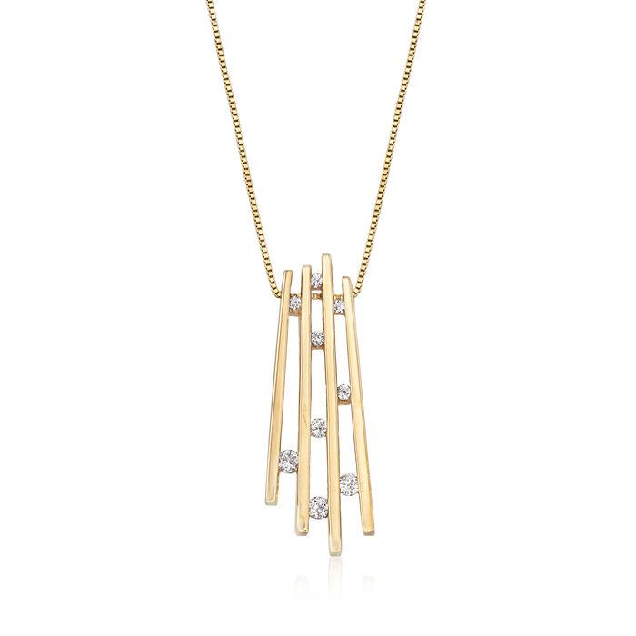 "C. 1990 Vintage .25 ct. t.w. Diamond Fan Pendant Necklace in 14kt Yellow Gold. 20"", , default"