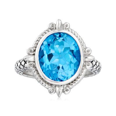 "Andrea Candela ""Fleur De Lis"" 5.83 Carat Swiss Blue Topaz Ring in Sterling Silver, , default"