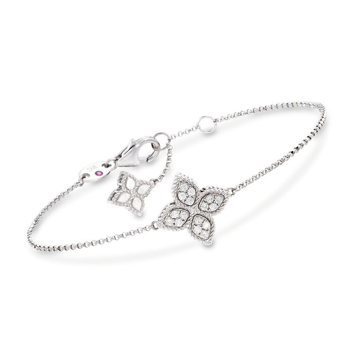 "Roberto Coin ""Princess"" .17 ct. t.w. Diamond Flower Bracelet in 18kt White Gold. 7"""
