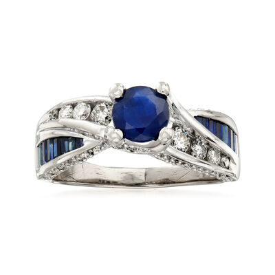 C. 1980 Vintage 1.65 ct. t.w. Sapphire and .75 ct. t.w. Diamond Ring in 14kt White Gold, , default