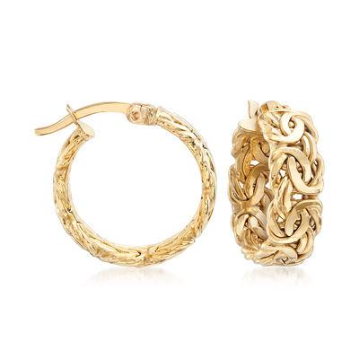 18kt Yellow Gold Byzantine-Link Hoop Earrings, , default