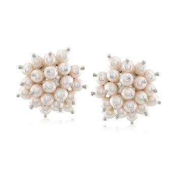 Italian 4.5-5mm Cultured Pearl Cluster Earrings in Sterling Silver, , default