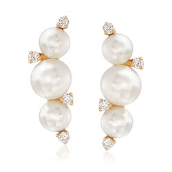 4-5.5mm Cultured Pearl and .12 ct. t.w. Diamond Curve Earrings in 14kt Yellow Gold, , default