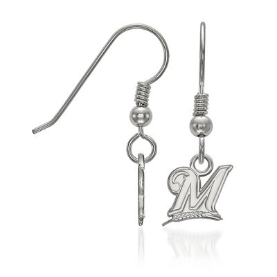 Sterling Silver MLB Milwaukee Brewers Extra Small Dangle Earrings, , default