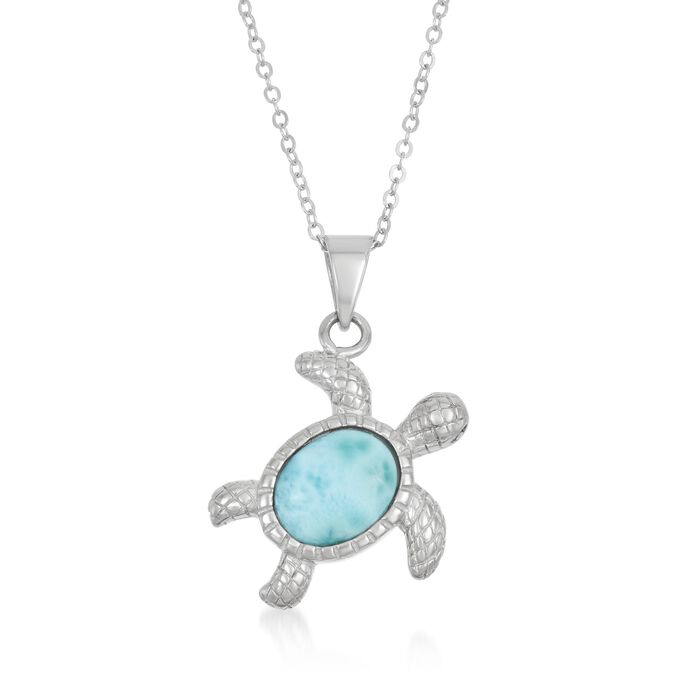 """Larimar Turtle Pendant Necklace in Sterling Silver. 18"""""""