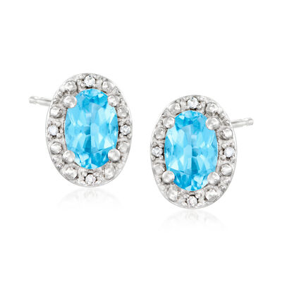1.10 ct. t.w. Swiss Blue Topaz Stud Earrings with Diamond Accents in Sterling Silver