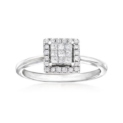 C. 1990 Vintage Giantti .30 ct. t.w. Diamond Cluster Square Ring in 18kt White Gold, , default