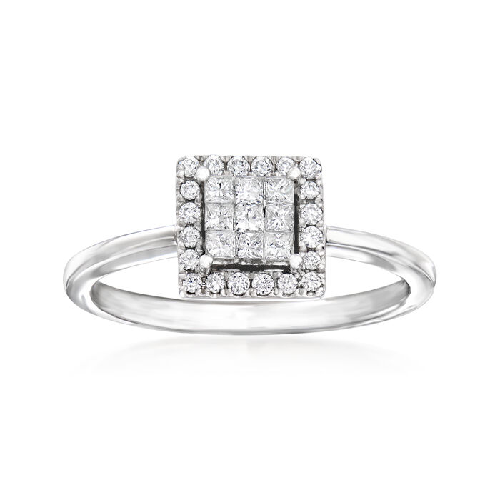 C. 1990 Vintage Giantti .30 ct. t.w. Diamond Cluster Square Ring in 18kt White Gold. Size 7, , default