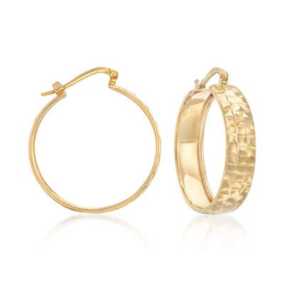 Italian 14kt Yellow Gold Checkered Hoop Earrings, , default