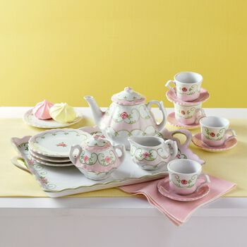 child 39 s eloise floral porcelain tea set ross simons. Black Bedroom Furniture Sets. Home Design Ideas