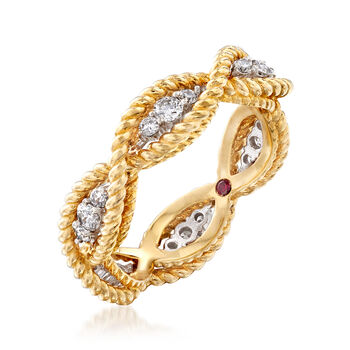 """Roberto Coin """"Barocco"""" .46 ct. t.w. Diamond Roped Ring in 18kt Two-Tone Gold. Size 6.5"""