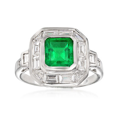 C. 1990 Vintage 1.60 Carat Emerald and 1.30 ct. t.w. Diamond Ring in 18kt White Gold