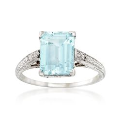 C. 1990 Vintage 2.15 Carat Aquamarine Ring With Diamond Accents in 14kt White Gold, , default