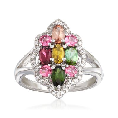 1.40 ct. t.w. Multi-Stone Cluster Ring in Sterling Silver, , default