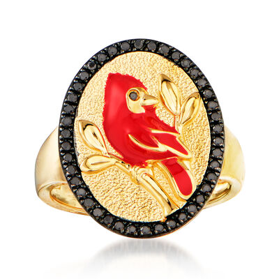 .20 ct. t.w. Black Spinel and Red Enamel Cardinal Ring in 18kt Gold Over Sterling