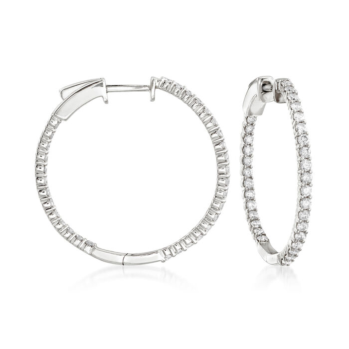 "1.00 ct. t.w. Diamond Inside-Outside Hoop Earrings in 14kt White Gold. 1"", , default"