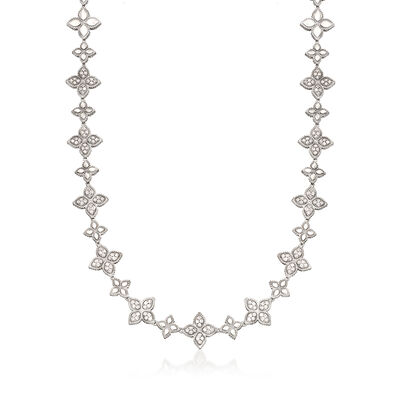 "Roberto Coin ""Princess Flower"" 6.65 ct. t.w. Diamond Flower Necklace in 18kt White Gold"