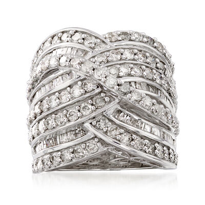 3.00 ct. t.w. Diamond Wave Ring in Sterling Silver, , default
