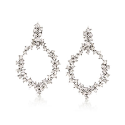 1.50 ct. t.w. Diamond Open-Space Marquise-Shaped Drop Earrings in 14kt White Gold