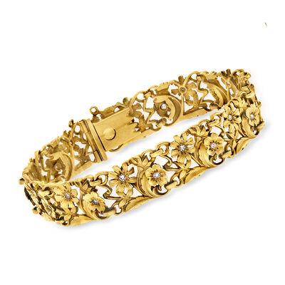 C. 1970 Vintage .55 ct. t.w. Diamond Flower Bracelet in 18kt Yellow Gold