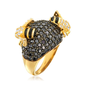 4.45 ct. t.w. Black and White CZ Bee Dome Ring in 18kt Gold Over Sterling with Black Enamel