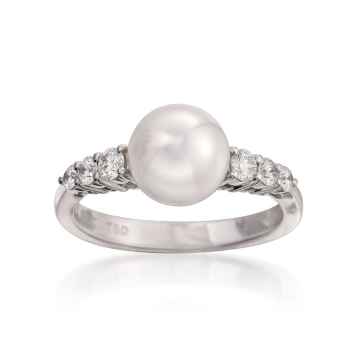 Mikimoto 8-8.5mm Akoya Pearl Ring with Diamonds in 18kt White Gold. Size 7