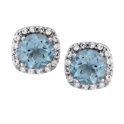 1.12 ct. t.w. Sky Blue Topaz and .16 ct. t.w. CZ Halo Earrings in Sterling Silver