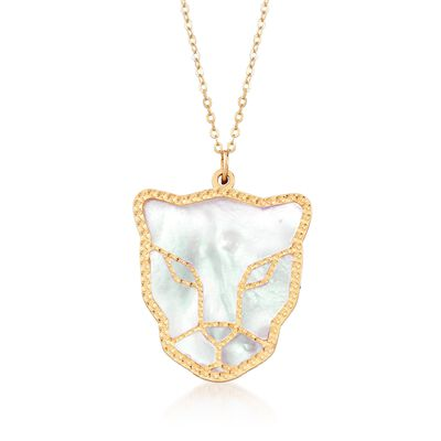 Italian Mother-Of-Pearl Tiger's Face Drop Necklace in 14kt Yellow Gold, , default