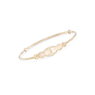 Child's 14kt Yellow Gold Single Initial ID Bracelet, , default