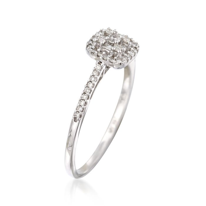 .20 ct. t.w. Baguette and Round Diamond Cluster Ring in 14kt White Gold
