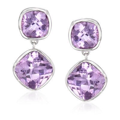 20.50 ct. t.w. Amethyst Drop Earrings in Sterling Silver, , default