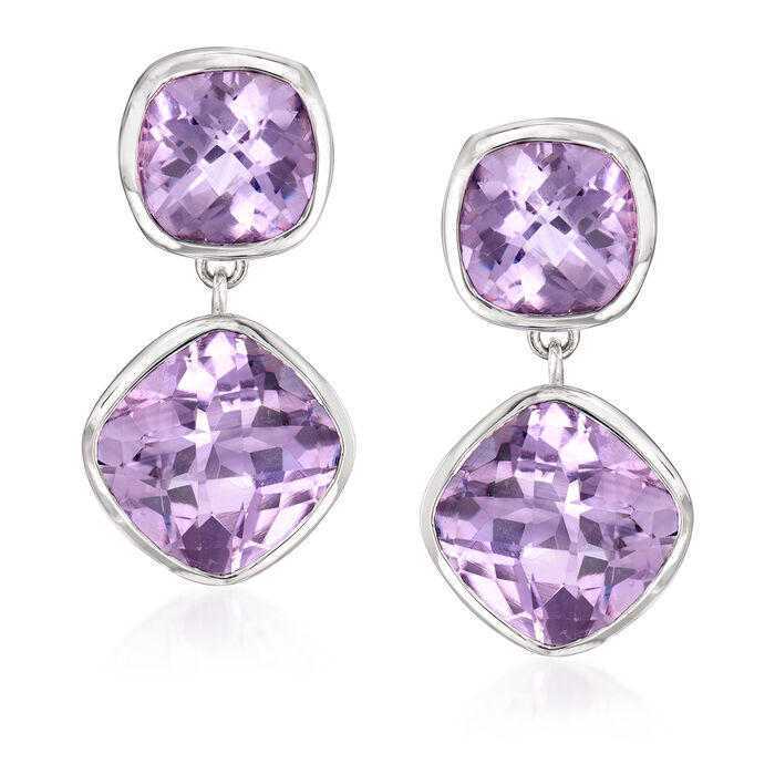 20.50 ct. t.w. Amethyst Drop Earrings in Sterling Silver, , default