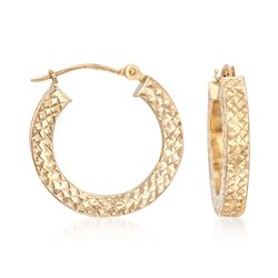 "14kt Yellow Gold Diamond-Cut Hoop Earrings. 3/4"", , default"