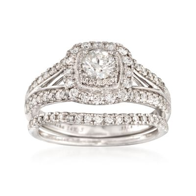 1.00 ct. t.w. Diamond Bridal Set: Engagement and Wedding Rings in 14kt White Gold